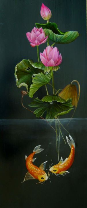 """Painting titled """"Lotus and Koi"""" by Charlene, Original Art, Oil"""