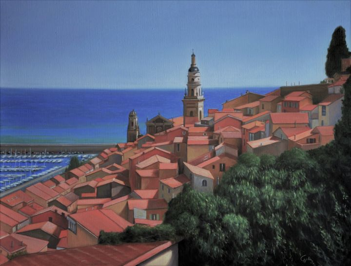 Vue sur Menton - Painting,  19.7x25.6 in, ©2017 by Charles Unger -                                                                                                                                                                                                                                                                  Figurative, figurative-594, Home, Cityscape, Cities