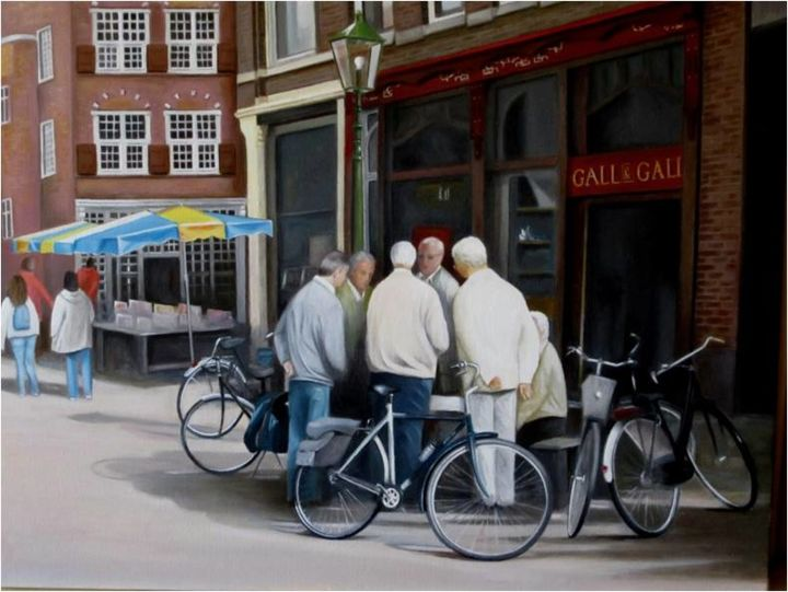 """A DELFT ou """" La Concertation"""" - Painting,  19.7x25.6 in, ©2013 by Charles Unger -                                                                                                                                                                                                                                                                                                                                                                                                          Figurative, figurative-594, Architecture, People, Cities, Delft, Hollande, cyclistes"""