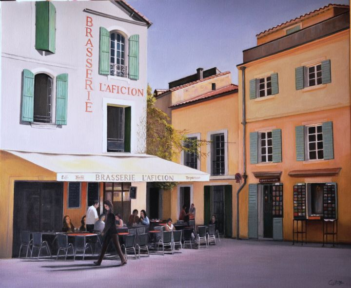 Terrasse Arlésienne - Painting,  21.3x25.6 in, ©2014 by Charles Unger -                                                                                                                                                                                                                                                                                                                                                                                                                                                                                                                                                                                                                                      Figurative, figurative-594, Architecture, Cities, Arles, Brasserie, Terrasse, paysage urbain, L'aficion, Aficion, restaurant, tableau, peinture arles