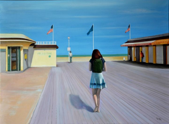 Deauville - Place Claude Lelouch - Painting,  23.6x31.9 in, ©2014 by Charles Unger -                                                                                                                                                                                                                                                                                                                                                                                                                                                                                                                                                                                                                                      Figurative, figurative-594, Places, Landscape, People, Beach, Cities, Plage, Ville, Deauville, Femme, Mer, paysage urbain