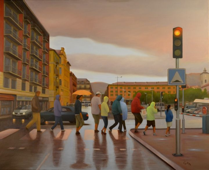 Crossing - Painting,  31.9x39.4 in, ©2016 by Charles Unger -                                                                                                                                                                                                                                                                                                                                                          Figurative, figurative-594, Architecture, Men, Landscape, Cityscape, People