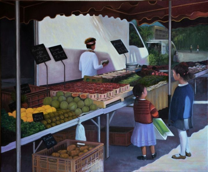 Au Marché - Painting,  19.7x25.6 in, ©2016 by Charles Unger -                                                                                                                                                                                                                      Figurative, figurative-594, Marché, enfants
