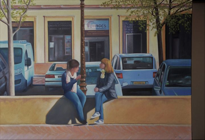 Pause Amicale - Painting,  23.6x31.9 in, ©2017 by Charles UNGER -                                                                                                                                                                                                                                                                                                                                                                                                                                                                                                                                              Figurative, figurative-594, Home, Cityscape, People, Cities, ville, femmes, conversation, vie de tous les jours, amies