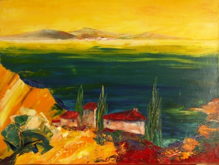BASTIDE - Painting,  46x61 cm ©2013 by Charles BAILLY -                            Contemporary painting, PAYSAGE Méditerrannéen