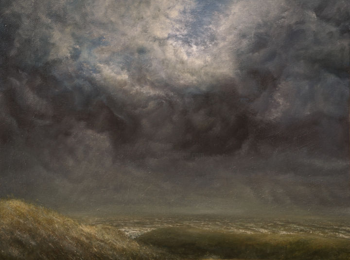 Avant l'orage - Painting,  7.9x11.8x1.2 in, ©2016 by Charles Dubus -                                                                                                                                                                                                                                                  Landscape, Storm, orage, oil painting, northern france