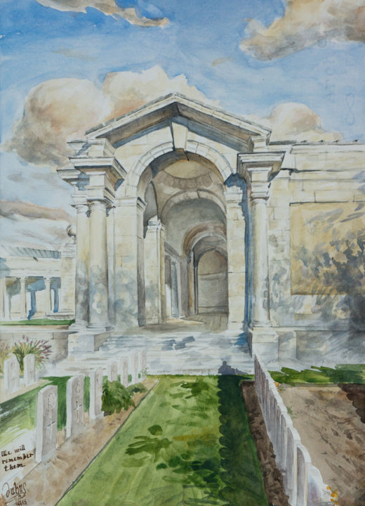We will remember them - Painting,  14.6x10.4x0.1 in, ©2020 by Charles Dubus -                                                                                                                                                                                                                                                                                                                                                                                                                                                                                                                                                                                                                                                                                                                                                                                                                                                                                                                                                                                                                                                                                              Impressionism, impressionism-603, Architecture, commonwealth, patrimoine, heritage, worldwarone, WW1, 1914, 1918, charlesdubus, britannique, classicalart, academicpainting, pleinairpainting, pleinairartist, france, JEP, arras, pastoral, performance, northernfrance, watercolor