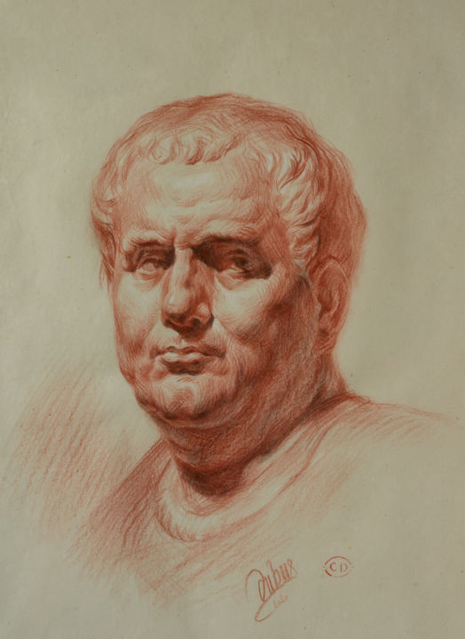 Vitellius - Drawing,  16.5x11.7x0.1 in, ©2020 by Charles Dubus -                                                                                                                                                                                                                                                                                                                                                                                                                                                                                                                                                                                                                                                                                                                                                                                                                                                                                                                                                          Classicism, classicism-933, Pop Culture / celebrity, portraiture, academicdrawing, classicism, classique, académique, XIXthcentury, roman emperor, SPQR, Vitellius, history, classicalartist, frenchartist, redchalk, sanguine, older, oldway, charlesdubus