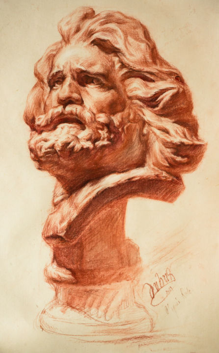 """Drawing titled """"Le vieux guerrier g…"""" by Charles Dubus, Original Art, Pastel"""