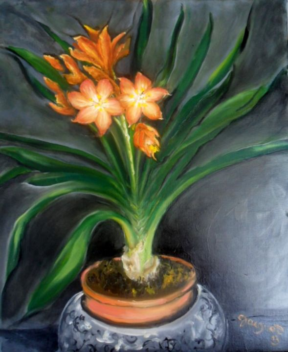 Un Clivia - Painting,  38x46 cm ©2013 by Charles Jacquet -