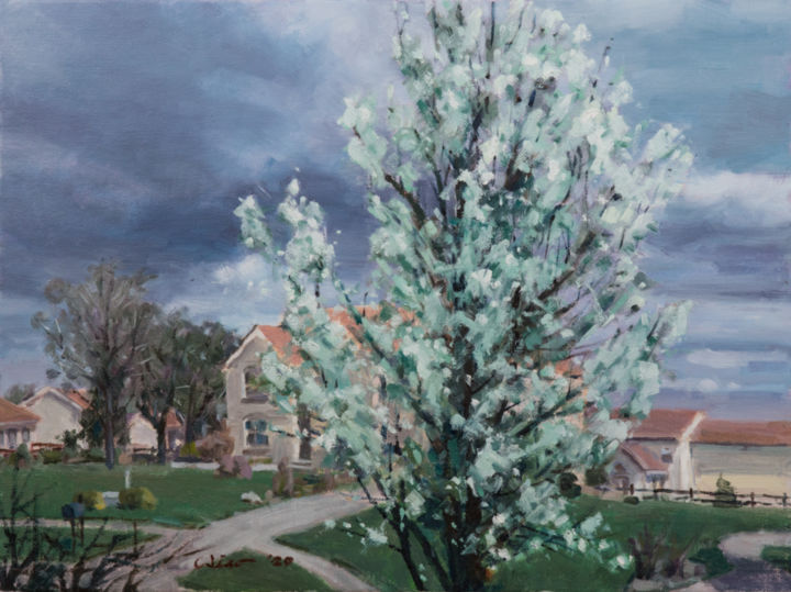 """Painting titled """"Peach Tree in Spring"""" by Charles Jiao, Original Art, Oil"""