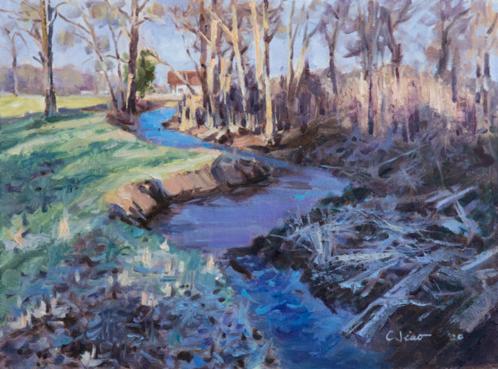 """Painting titled """"Creek in Winter"""" by Charles Jiao, Original Art, Oil"""