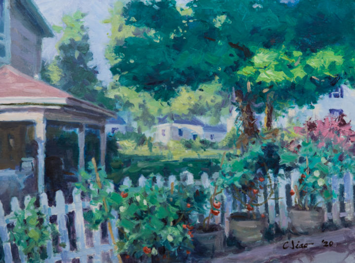 """Painting titled """"Backyard #1"""" by Charles Jiao, Original Art, Oil"""