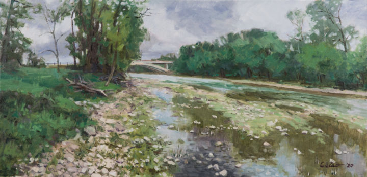 """Painting titled """"Riverbed"""" by Charles Jiao, Original Art, Oil"""