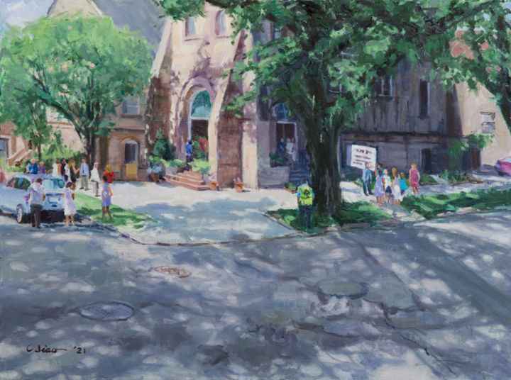 """Painting titled """"Church on Sunday Mo…"""" by Charles Jiao, Original Art, Oil"""