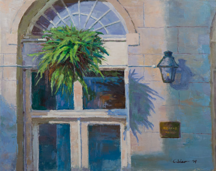 """Painting titled """"Restaurant Sidedoor"""" by Charles Jiao, Original Art, Oil"""