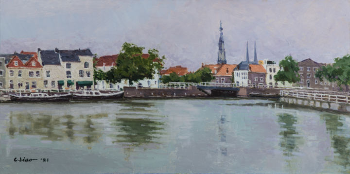 """Painting titled """"Town Scene"""" by Charles Jiao, Original Art, Oil"""