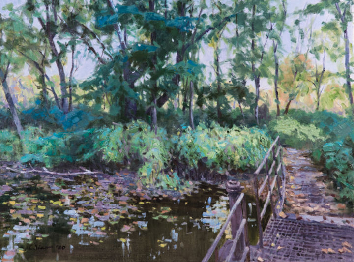 """Painting titled """"Pondside"""" by Charles Jiao, Original Art, Oil"""