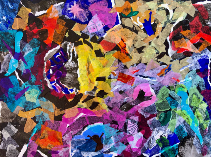 """Collages titled """"Eclipsed"""" by Charlotte D'Aigle, Original Art, Collages"""