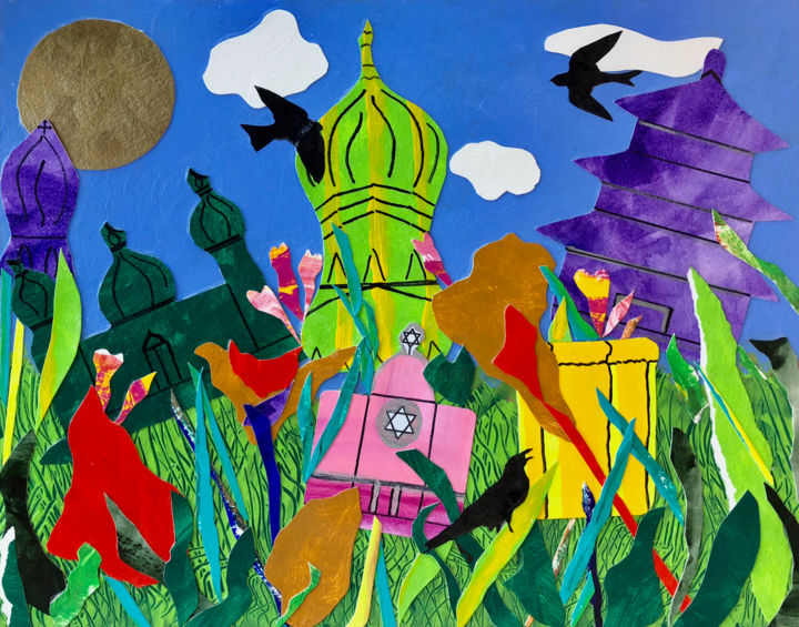 """Collages titled """"One Garden Under th…"""" by Charlotte D'Aigle, Original Art, Collages"""