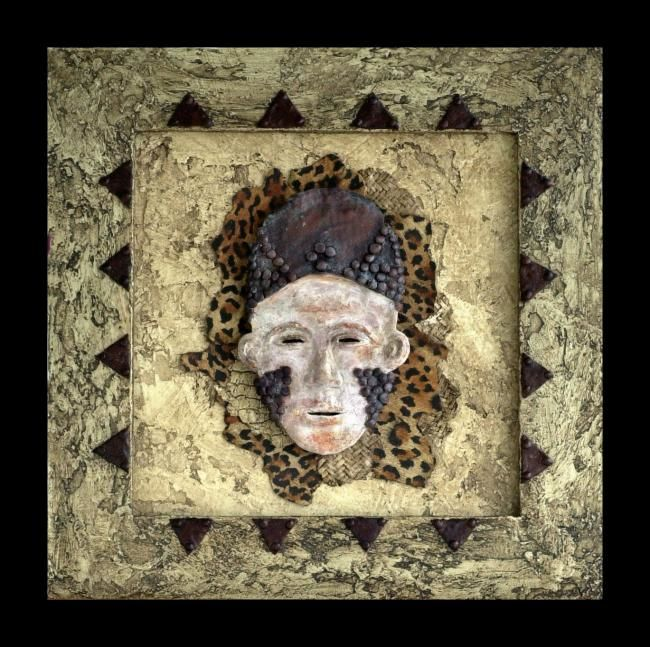 """Collages titled """"Mask of Zaire"""" by Charmaine Bartlett, Original Art,"""