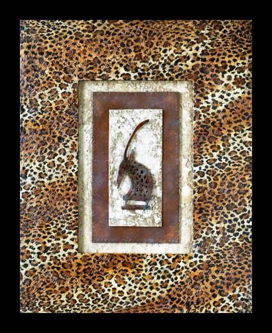 """Collages titled """"African Antelope"""" by Charmaine Bartlett, Original Art,"""