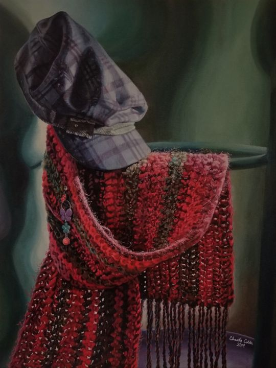 Solitary Colors - © 2019 stilllife, fashion, scarf, hats, crochet, knitting, jewelry, earrings, complementary colors, still life, acrylic, acrylics, painting, realism, realistic, yarn, red, green, red and green, art therapy Œuvres-d'art en ligne
