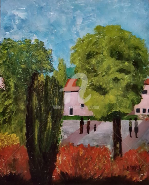 LA PLACE A VIMY 62 - Painting,  41x30 cm ©2018 by B.PAYEN -                                                                    Contemporary painting, Pulpboard, Architecture, Nature