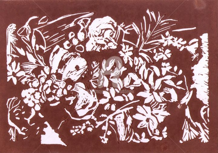 Composition florale marron - Printmaking,  21x29.7 cm ©2018 by B.PAYEN -                                                            Art Deco, Paper, Flower, fleur linogravue encre