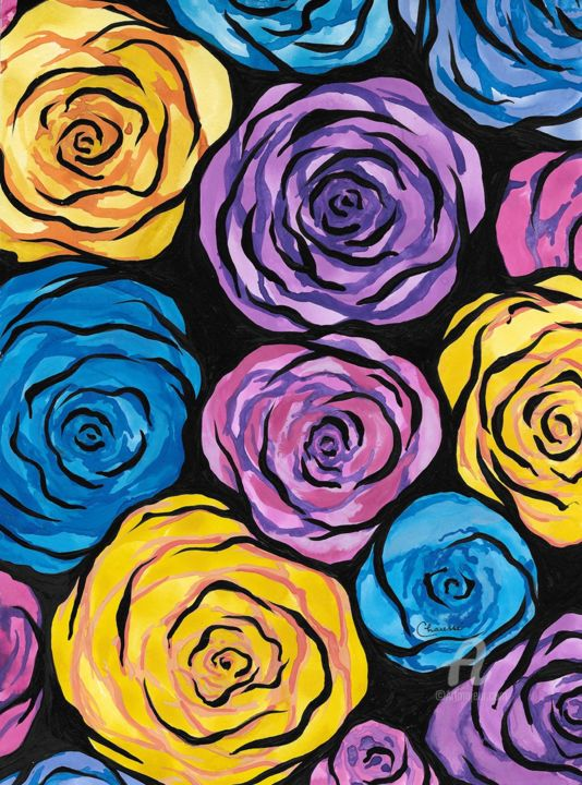 """Painting titled """"Roses Multi"""" by Genevieve Chausse, Original Art, Watercolor"""