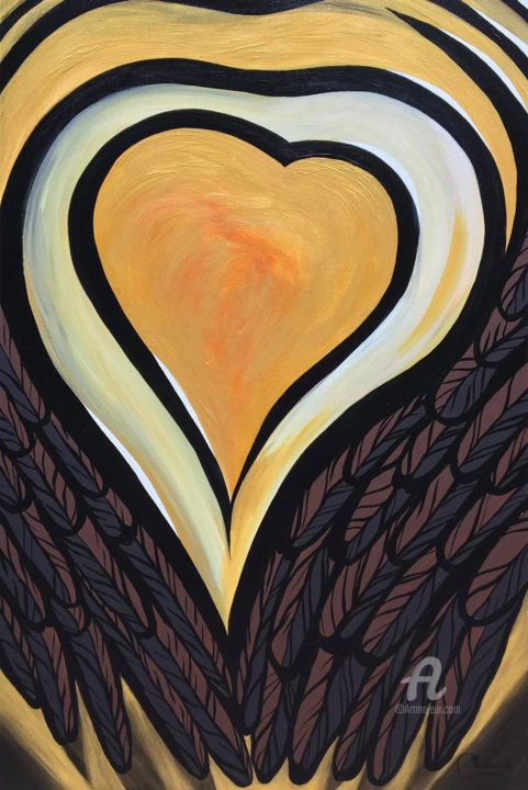 """Painting titled """"Heart of gold [with…"""" by Genevieve Chausse, Original Art, Acrylic"""