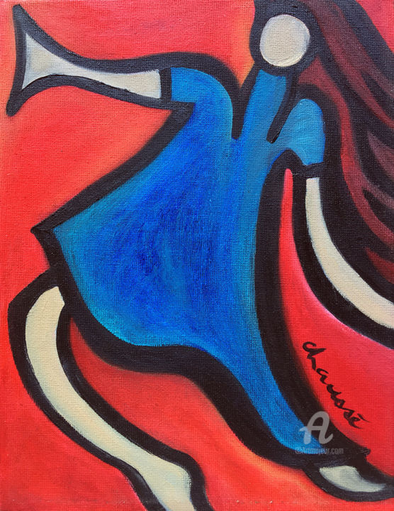 """Painting titled """"I dance [ II ]"""" by Genevieve Chausse, Original Art, Oil"""