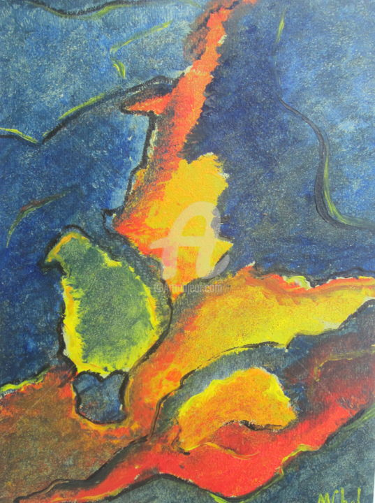 La Flamme - Painting,  32x24 cm ©1992 by Monique CHEF -                                            Abstract Art, Abstract Art, Flamme, symbole