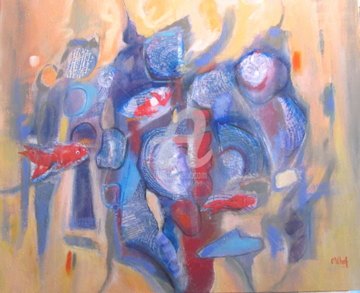 Les Poissons rouges - Painting,  54x65 cm ©2016 by Monique CHEF -                                                        Contemporary painting, Canvas, Animals