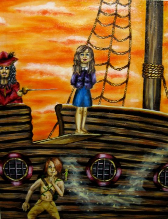 """Painting titled """"Rescuing Wendy"""" by Chelsea Rabbers, Original Art, Other"""