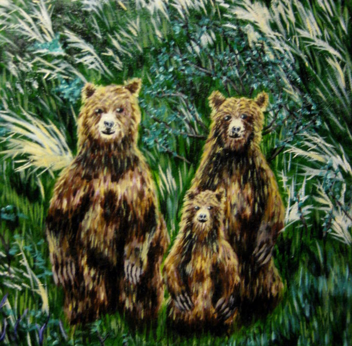 """Painting titled """"The Three Bears"""" by Chelsea Rabbers, Original Art, Other"""