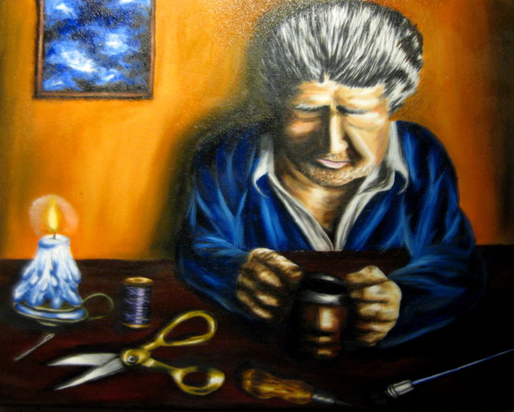 """Painting titled """"Old Shoemaker"""" by Chelsea Rabbers, Original Art, Oil"""