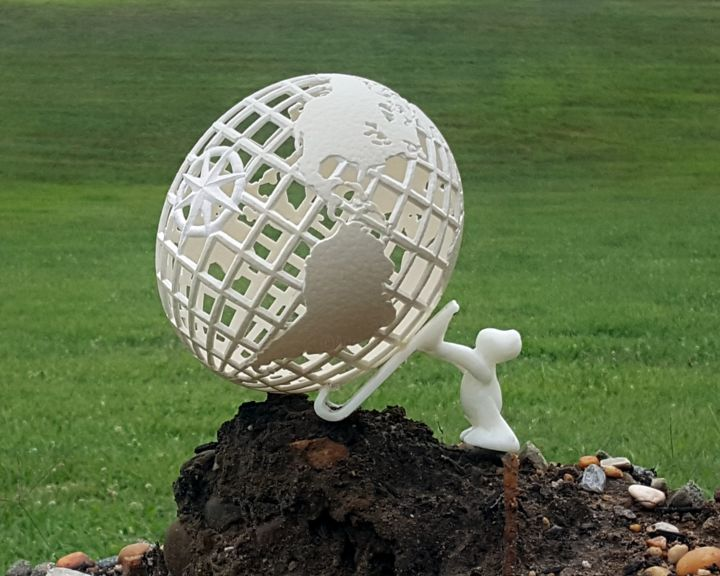 The Brink - Sculpture,  9x9x9 in, ©2020 by Cherie Lee -                                                                                                                                                                                                                                                                                                                                                                                                                                                                                                                                                                                                                                      Pop Art, pop-art-615, Nature, Cherie Lee, Cherie Lee eggs, cherie lee creations, cherie lee imagery, hand carved, ostrich egg, ostrich eggshell, carved egg, globe, world