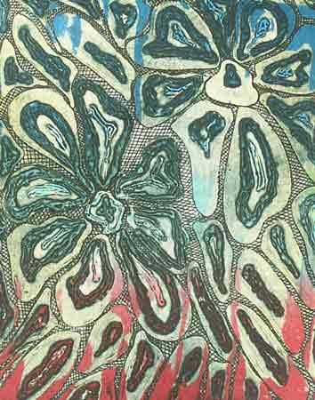 Flowers  in three colours - Printmaking, ©2004 by Richard Raveen Chester -                                                              flowers rouge bleue gravure eau forte carborundum viscosité