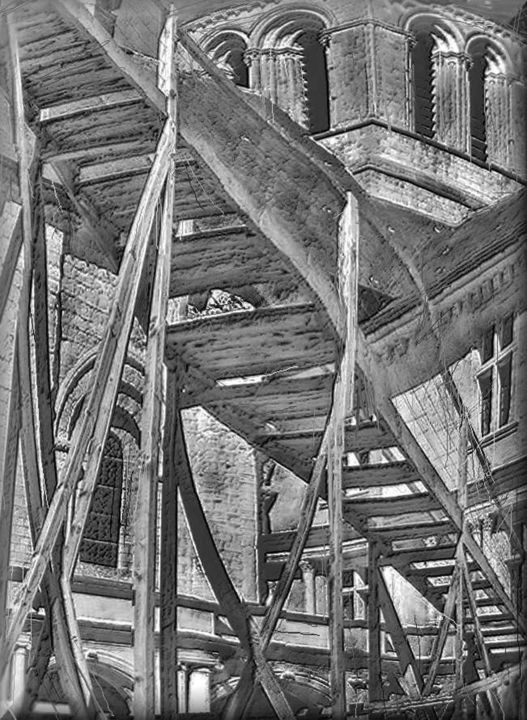 l'Abbey - Digital Arts,  9.3x6.8 in, ©2016 by Richard Raveen Chester -                                                                                                                                                                                                                                                                                                                                                                                      Architecture, abbey, monastry, echelle, ladder, building, renevotion, Black and White