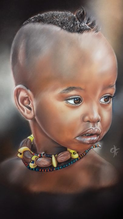 """Painting titled """""""" Love Africa """""""" by Véronique Chevalier, Original Art, Pastel"""