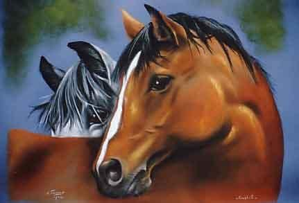 COMPLICITE     pastel sec - Painting,  19.7x25.6 in, ©2006 by Chiara Tancredi -