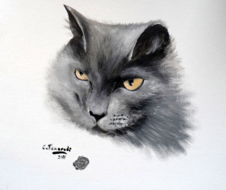 GREY STYLE - Painting,  13x15.8 in, ©2011 by Chiara Tancredi -                                                              CHATS