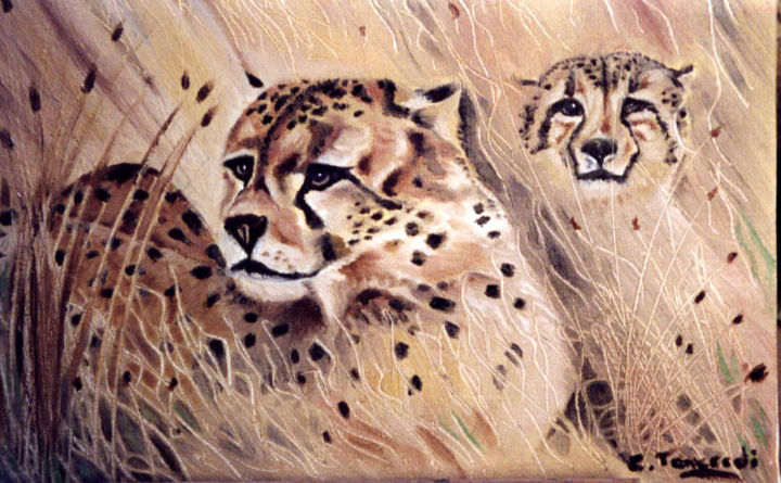 DANGER - Painting, ©2013 by Chiara Tancredi -                                                              AFRICA   SAVANNE  ART ANIMALIER  FELINS