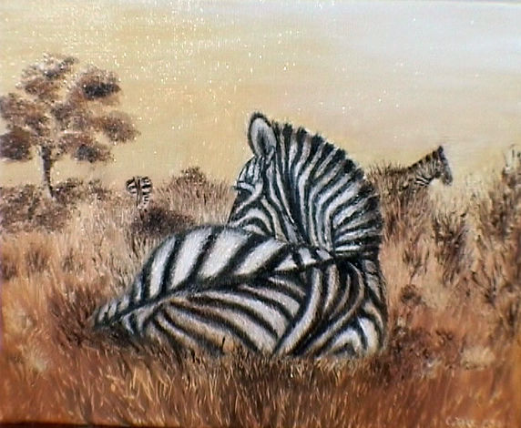 AFRICA - Painting ©2013 by Chiara Tancredi -            AFRICA  ZEBRES   SAVANNE   ART ANIMALIER