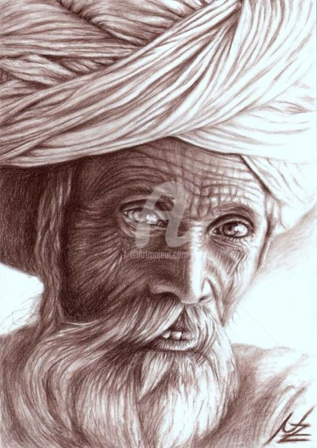Old Indian Man - Painting,  11.8x7.9 in, ©2008 by Arts & Dogs -                                                              portrait mann man india indien old alter falten braun brown charcoal kohle