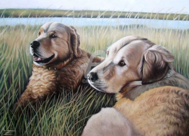 Two Golden Retriever - Painting,  19.7x27.6 in, ©2008 by Arts & Dogs -                                                                                                                                                                          Figurative, figurative-594, dog hund chien golden retriever animal tier fur portrait