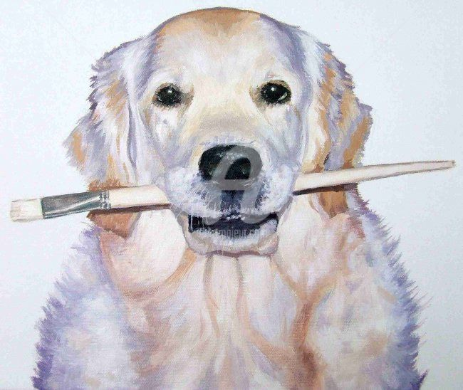 Artist Dog - Painting, ©2008 by Arts & Dogs -                                                                                                                                                                          Figurative, figurative-594, dog animal pet brush hund chien golden retriever acrylic portrait