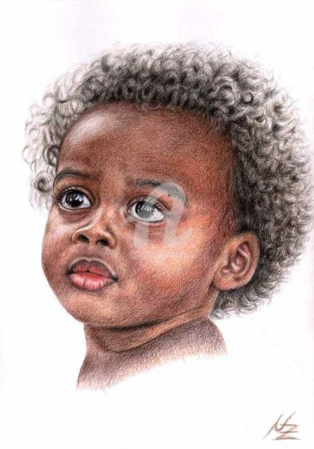 African Child - Painting,  11.8x7.9 in, ©2008 by Arts & Dogs -                                                              child africa kind enfant afrika portrait face gesicht eyes kinderaugen baby brown braun realismus realism