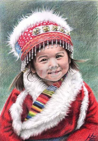 Tibetan Girl - Painting, ©2009 by Arts & Dogs -                                                              child kind tibet asia portrait face world culture realism realismus drawing